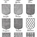 Variety of enterprise enamels used in Heraldry vintage engraving — Stock Vector