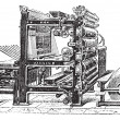 Marinoni Rotary printing press vintage engraving - 图库矢量图片
