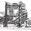 图库矢量图片: Marinoni Rotary printing press vintage engraving