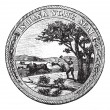 Seal of the State of Indiana USA vintage engraving — Stock Vector