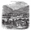 Interlaken and Jungfrau Switzerland vintage engraving — ストックベクタ #6748021