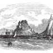 Mont Orgueil Castle in Jersey vintage engraving - Stock Vector