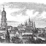 Pechersky Monastery, Kiev vintage engraving — Stock Vector #6748531