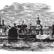 Waterfront at Kingston, Canadvintage engraving — Vector de stock #6748532
