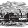 Waterfront at Kingston, Canadvintage engraving — ストックベクター #6748532