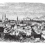 Konieh or Koniah city anciently known as Iconium vintage engravi — Stock Vector