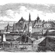 The Moscow Kremlin and river,Russia vintage engraving - Stok Vektör