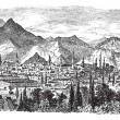 Kütahya or Kotyaion or Cotyaeum city view, Western Turkey vintage engraving - 图库矢量图片