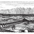 The Ruins of Laodicea, Turkey vintage engraving - 图库矢量图片