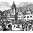 City Hall and market place in Leipzig, Germany, vintage engravin — Векторная иллюстрация