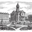 Bates College in Lewiston, Maine, vintage engraving — Векторная иллюстрация