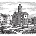 Bates college di incisione d'epoca di lewiston, maine, — Vettoriale Stock