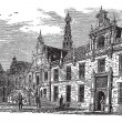Leiden city hall, Netherlands, vintage engraving — Stock vektor