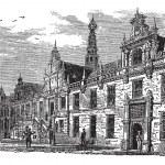 Gravure vintage de hôtel de ville, Pays-Bas, Leiden — Vecteur