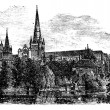 Royalty-Free Stock Vektorgrafik: Lichfield Cathedral, Lichfield, Staffordshire, England. vintage