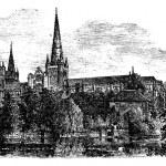 利奇菲尔德大教堂,利奇菲尔德、 斯塔福德郡,英格兰。葡萄酒 — 图库矢量图片 #6749601