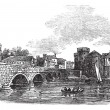 Thomond Bridge and King John's Castle, Limerick, Ireland vintage - Stock Vector