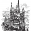Cathedral of St. George, Limburg-On-The-Lahn vintage engraving — Stockvektor