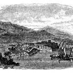 Lipari island, Sicily, Italy, vintage engraving — Stock Vector