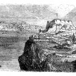 Lisbon, view from the south bank of the Tagus, vintage engraving — Stock Vector #6749977