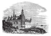 Kronborg Castle in Helsingor, Denmark, vintage engraving — Stock Vector