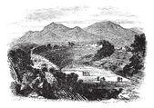 Efesos i izmir, turkiet, vintage gravyr — Stockvektor