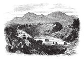 Ephesus in Izmir, Turkey, vintage engraving — Vecteur