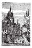Erfurt Cathedral in Thuringia, Germany, vintage engraving — Stock Vector
