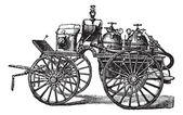 Horse-driven Fire Wagon, vintage engraved illustration — Stock Vector