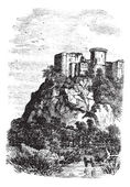 Falaise Castle in Normandy, France, vintage engraving — Stock Vector