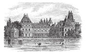 Fontainebleau Palace in Paris, France, vintage engraving — Stock Vector