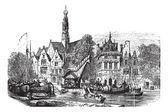 Korn markt und saint-bavochurch-docks, in haarlem, niederlande — Stockvektor