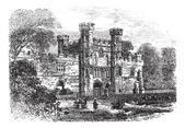Battle Abbey, Hastings, East Sussex, England vintage engraving — Stock Vector