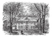 Casa de hawthorne en concord, vintage grabado en massachusetts — Vector de stock