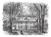 Hawthorne dům v concord, massachusetts vinobraní gravírování — Stock vektor