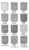 Variety of enterprise enamels used in Heraldry vintage engraving — Stock Vector