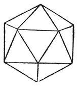 Regular Icosahedron vintage engraving — Stock Vector