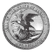 Great Seal of the State of Illinois USA vintage engraving — Stock Vector