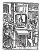 Screw press vintage engraving — Stock Vector