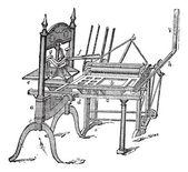 Vintage grabado en washington prensa de mano — Vector de stock