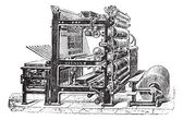 Marinoni Rotary printing press vintage engraving — Vecteur
