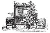 Marinoni Rotary printing press vintage engraving — Stockvektor