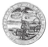 Great Seal of the State of Iowa USA vintage engraving — Stock Vector