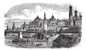 The Moscow Kremlin and river,Russia vintage engraving — Stockvektor