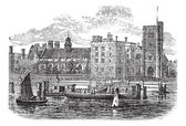 Lambeth Palace, London vintage engraving — Stock Vector