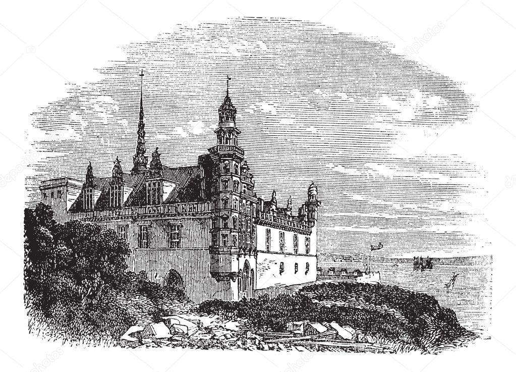 Kronborg Castle in Helsingor, Denmark, during the 1890s, vintage engraving. Old engraved illustration of Kronborg Castle. — Stock Vector #6745625