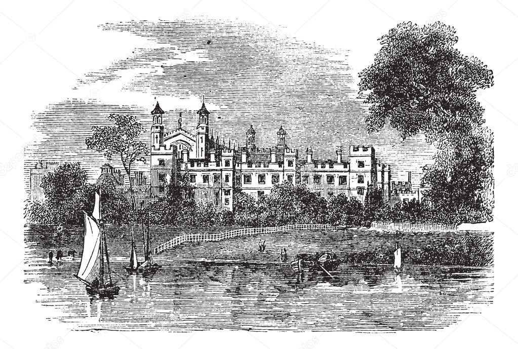 Eton College in Windsor, England, United Kingdom, during the 1890s, vintage engraving. Old engraved illustration of Eton College. — Stock Vector #6745959