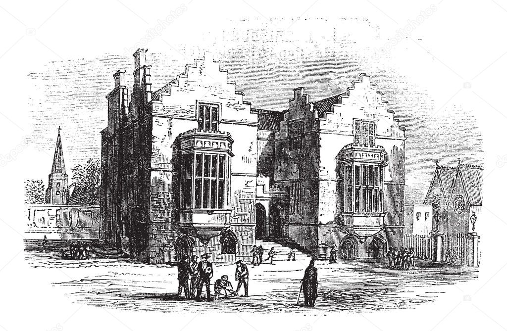 Harrow school vintage engraving. Old engraved illustration of harrow architecture, during 1800s. — Stock Vector #6747509
