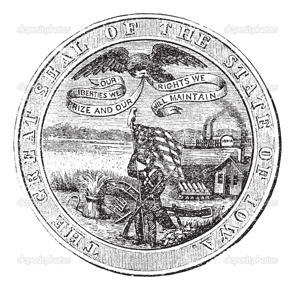 Great Seal of the State of Iowa, USA, vintage engraving. Old engraved illustration of Great Seal of the State of Iowa isolated on a white background.  — Grafika wektorowa #6748037