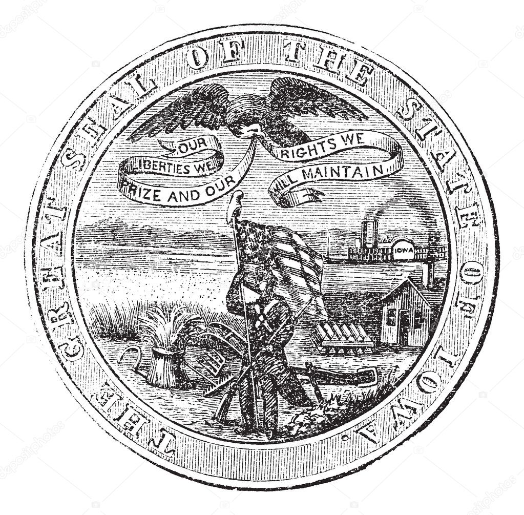 Great Seal of the State of Iowa, USA, vintage engraving. Old engraved illustration of Great Seal of the State of Iowa isolated on a white background.  — Vettoriali Stock  #6748037